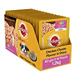 #6: Pedigree Wet Dog Food, Chicken Chunks in Gravy for Puppy – 80g (Pack of 15)