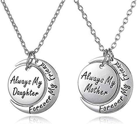 Set von 2 Always my daughter Forever My friend/ALWAYS My Mother Forever My friend in Silber Ton Passende Halskette Geschenk Set
