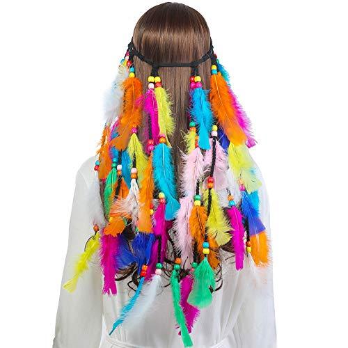 AWAYTR Feder Kopfschmuck Boho Hippie Stirnband - Fancy Federschmuck Böhmische Kopfbedeckung Quaste für Damen Mädchen Karneval Kopfschmuck (Bunt)