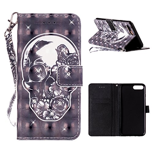 Preisvergleich Produktbild iPhone 7 Plus Handyhülle Leder Innere Weiche TPU in Buch Art Mit Standfunktion Kartenschlitz HuaForCity® Phone Case Leather in Book Style with Stand Function Card Slot für iPhone 7 Plus
