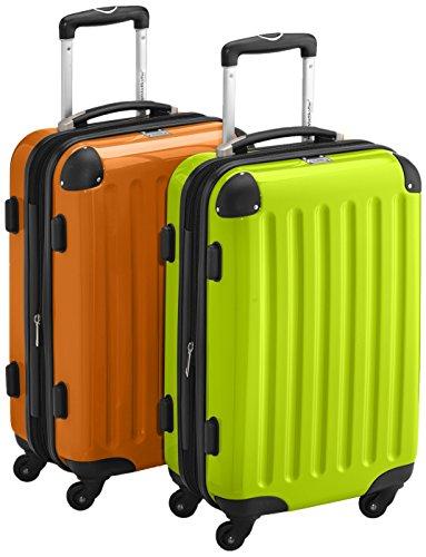 HAUPTSTADTKOFFER - Alex - 2 x Handgepäck Hartschale glänzend, TSA, 55 cm, 42 Liter, Graphit-Apfelgrün Apfelgrün-Orange
