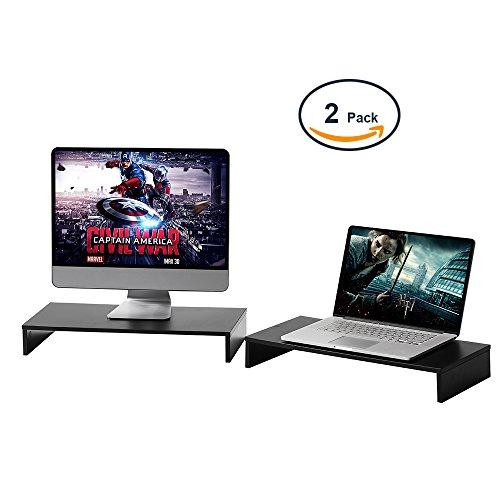 RFIVER Long Desktop TV Riser Computer Desk Monitor Stand Riser mit vielseitigem Speicher-Organizer, einreihig schwarz 54 x 25.5cm-2 Pack CM1008