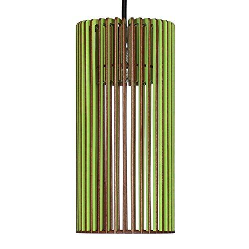 Suspension Cilindro en bois - Plafonnier design moderne - 8 couleurs disponibles -, vert pomme, E14 60.0 wattsW