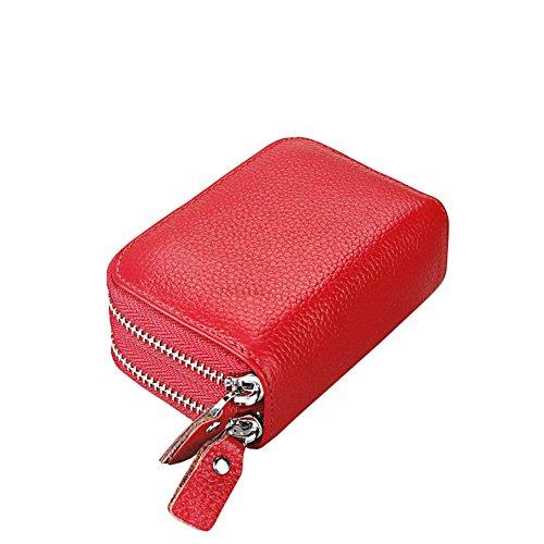 Donna Portafogli,RFID bloccando la protezione Blocco Portafoglio Porta carte di credito (Pink) Rosso