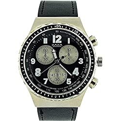 Zaza London Chronograph Effect Black PU Strap Gents Casual Watch MLB458