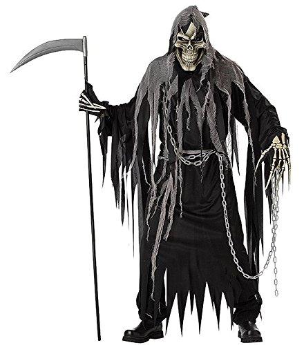 Skull Reaper Kostüm - Herren Horror Phantom Sensenmann Kostüm Grösse 52 L Erwachsene Grim Reaper Karneval