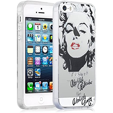 [ iPhone 5/5s y iPhone SE Case ] - Funda JammyLizard De Silicona Gel Transparente Sketch Back Cover, MARYLIN