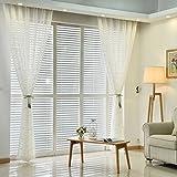 iZUHAUSE® cortina de gasa blanca hojas bordadas 100% poliester cortinas para habitacion salon 145*245cm