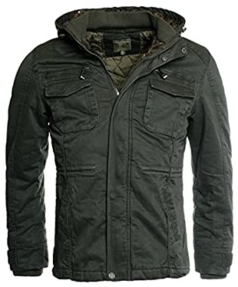 young rich herren parka lange winter jacke kurzmantel anorak gef ttert mit kapuze slimfit. Black Bedroom Furniture Sets. Home Design Ideas