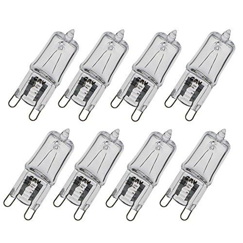 GMY Beleuchtung G9 Halogen klar Kapsel 28 W 8 Stück 230 V 370 Lumen 2800 K warmweiß (Klar-glas-tisch-lampe)