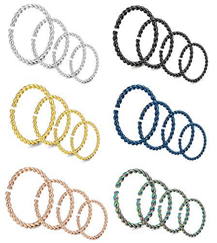 Milacolato 24 Stücke Chirurgenstahl Twister Hoop Ringe für Septum Körperschmuck Piercing Geflochtene Knorpel Ohrring 20 Gauge 6-12 MM (Ton Twister)