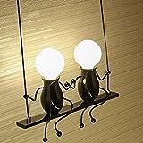 Moderno Creativo Doble Diseño Luz de Pared De Lujo Oscilación Edison Lámpara de Pared Hierro Metal Ajustable Iluminación de Pared Sala Cuarto Pasillo Corredor Luz Interior 2*E27 Max.60W W36cm*H48cm , Negro
