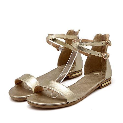 Planas Materiais Puramente Pé Voguezone009 Aberto Douradas Sem Do Dedo Sandálias Macios Salto Senhoras Zipper qppaOw