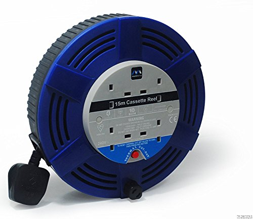 2xMasterplug LCT1213/4BL Large Cassette Reel with Thermal Cut Out and Reset Button, 12 m 4 Socket 13 amp