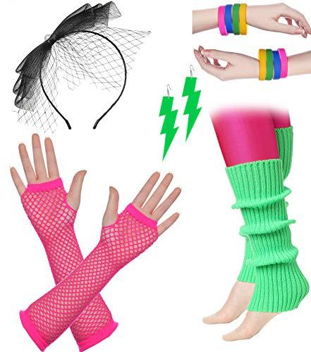 ArtiDeco Damen 80er Jahre Zubehör 1980s Disco Party Kostüm Outfit Zubehör Set Inklusive Stirnband Ohrringe Armbänder Beinlinge Fischnetz Handschuhe (Set-14)