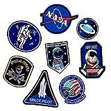 Bella 8pz Patch Applique Toppe Ricamato Astronauta Razzo NASA UFO Space Explorer Pianeta Ricamo Craft Iron On Sew On Termoadesive