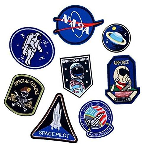 Bella 8pcs Patch Applique Appliqués à Coudre Brode Broderie Pour Vetement Jeans Veste Astronaute fusée NASA UFO planète Patch Thermocollant