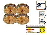 4er-SET Rauchmelder in Holzoptik mit austauschbarer 5 Jahres Batterie - Jetzt 5 Jahre Brandschutz sichern!