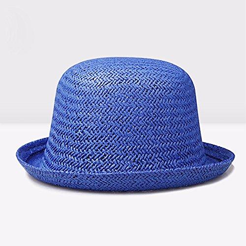 ZHGI Versione coreana fluisce in estate cappello di paglia uomini onorevoli rotondo piccolo cappuccio cappello (Signore Blu Visor)
