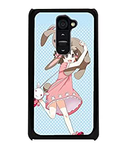 PrintDhaba Bunny Girl D-2262 Back Case Cover for LG G2 (Multi-Coloured)
