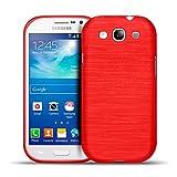 Samsung Galaxy S3 Neo, S3 TPU Gummi Hülle Rot, Metall Optik Brush Design, Schutzcover Bumper, Handyhülle aus Silikon Galaxy S3 Neo, S3 Cover Rückschale Rot, Samsung Galaxy S3 Neo, S3 (4,8 Zoll (12,2 cm)