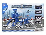 Alsino Großes Polizeistation Set mit Polizeigarage Polizeiautos Helikopter für Kinder Spielzeug Spielwelt 8237 1:64