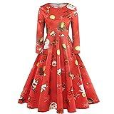 Weihnachtenkleid Sannysis Damen Elegant Abendkleid Vintage Weihnachten Party Kleid Cocktailkleid Rockabilly Minikleid Langarm Freizeitkleider 3D Print Kleidung