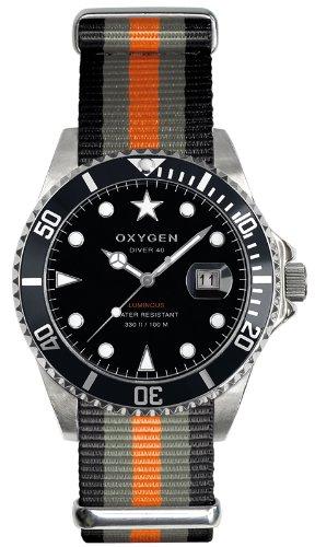 Oxygen - EX-D-AMS-40-BLGROR - Diver - Montre Homme - Quartz Analogique - Cadran Noir - Bracelet Nylon Multicolore
