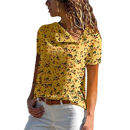 ITISME FRAUEN BLUSE Bluse Damen Langarm hemdbluse einfarbig Business Hemd Herbst und Sommer Revers Kragen S-XXL (X-Large, Gelb)
