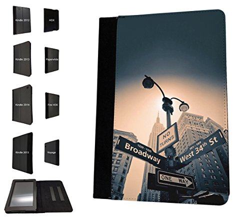 002907 - New York Street Sign Broadway West Street Design Amazon Kindle Paperwhite 6'' 2014/2016 TPU Leder Brieftasche Hülle Flip Cover Book Wallet Stand halter Case
