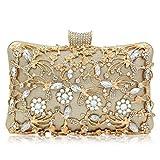 Strass Fleur métal de Femmes Sac de soirée,Porte-Monnaie imprimé Embrayage ajouré avec Sac à bandoulière chaîne Amovible Sangle-D 20x6x12cm(8x2x5inch)