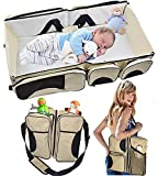 szxuanzhicai Baby 3 in 1 Portable Bassinet, Diaper Bag and Change Station with Fitted Sheet and Carabiner Keyring (Cream)
