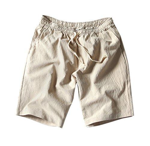 LaoZanA Herren Drawstring Leinen Casual Sommer Beach Shorts Leinenshorts Kurze Leinenhose Bermuda Sweatshorts Regular Fit 3XL Apricot
