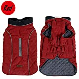Cold Winter Dog Pet Coat Jacket Vest Warm Outfit Clothes for Small Medium Large Dogs Red M