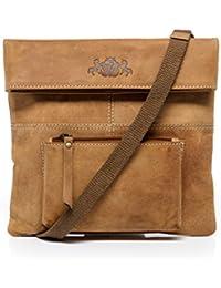 Scotch & Vain Bolso bandolera HANNAH - piel genuina beige - Bolso de cuero con asa para el hombro - pequeño - cartera cruzado (24 x 24 x 2 cm)