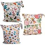 swesy 3Pack bebé Wet y Dry bolsa para pañales bolsas–resistente al agua bolsas con dos bolsillos con cremallera