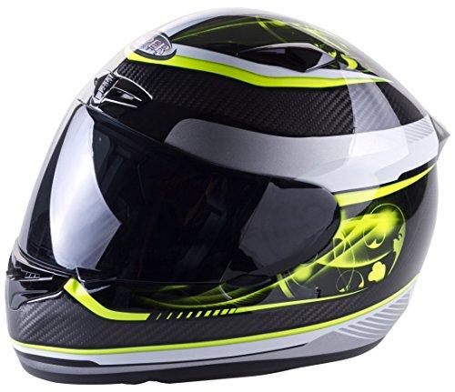 Viper Helmets - Casco Integrale da Moto RS1010, Carbonio/Giallo, 57-58 cm