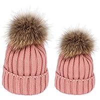 Bobury 2PCS Parent Child Pompom Knit Hat Madre bebé Hija Hijo Caliente Gorro de Piel sintética Tapa de Color sólido
