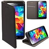 Moozy Funda para Samsung S5, Negra - Flip Cover Smart magnética con Stand Plegable y Soporte de Silicona