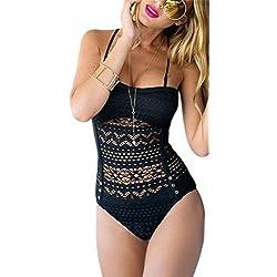 Bañador de Mujer Traje De Baño Push-up Bikini Traje de baño de encaje Diseño Playa de playa de verano para mujeres, natación (M-EU38, Negro)