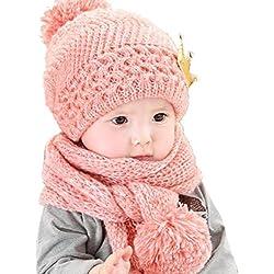 Gorros Bebé,Xinan Niño Niña Invierno Sombrero Bufanda Lindo Lana Punto (Rosa)