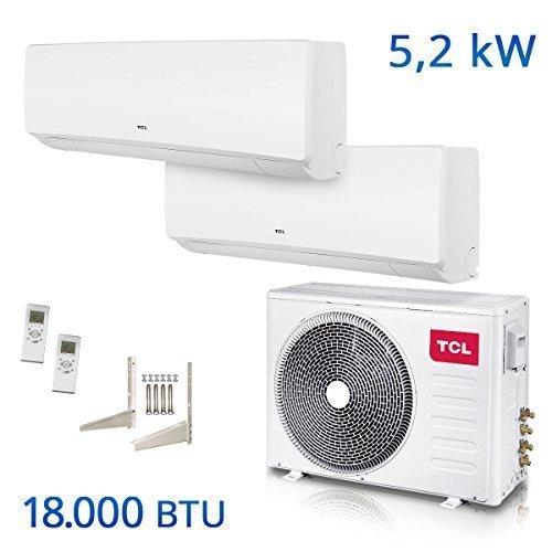 TCL Dual Split Klimaanlage 18000 BTU Multi Inverter Klimagerät A++/A+ Titangold Kältemittel vorgefüllt TCA-18I2HA/DV