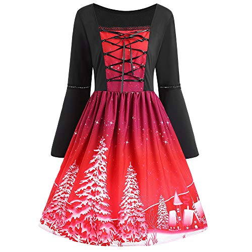 TWIFER Plus Größe Swing Kleid Weihnachten Gedruckt Flare Langarm Cross Bandage Partykleider