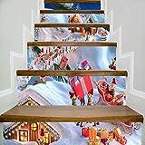 Adesivi per Scale 6 pz La Casa Di Babbo Natale Sull'Albero Modello Da Vicino Adesivo Per Scale Adesivo Da Parete 6 Pezzi/Set 18 Cm X 100 Cm