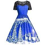 SEWORLD Weihnachten Retro Christmas Weihnachtsfrauen Frauen Kurzarm Spitze Patchwork Druckweinlese Kleid Partei Kleid(X1-blau,EU-38/CN-XL)