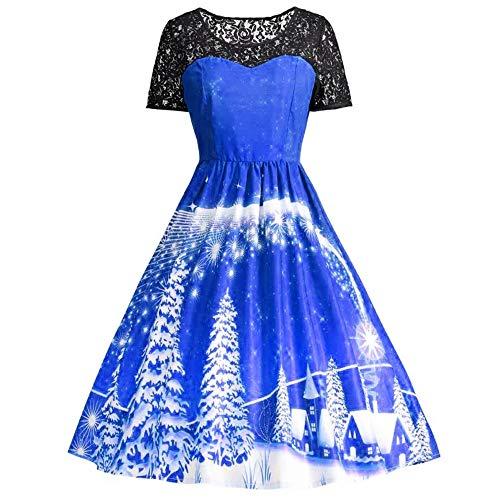(SEWORLD Weihnachten Retro Christmas Weihnachtsfrauen Frauen Kurzarm Spitze Patchwork Druckweinlese Kleid Partei Kleid(X1-blau,EU-38/CN-XL))