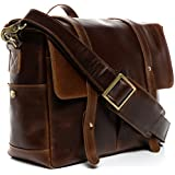 SID & VAIN Camera Bag DSLR - SLR - Unisex Camera Case With Adjustable Interior Compartments HEATHROW | Leather Bag With Shoulder Strap Women And Men Brown-cognac Leather | PREMIUM-QUALITY