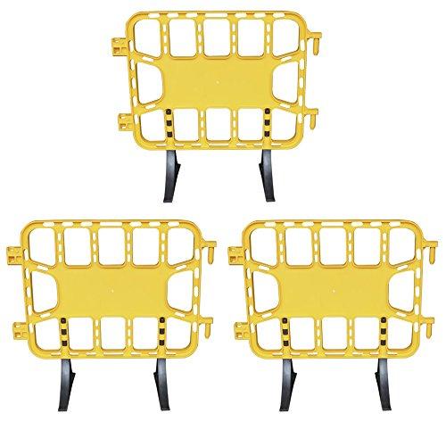 Valla de plástico obra peatonal en color amarillo, valla reforzada con patas extraíbles de 1 metro (3- Vallas amarillas)