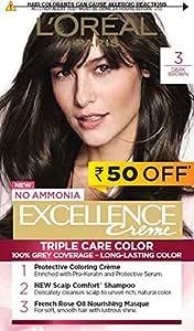 L'Oreal Paris Excellence Creme Hair Color, 3 Natural Darkest Brown, 72ml+100g, Rs 50 Off