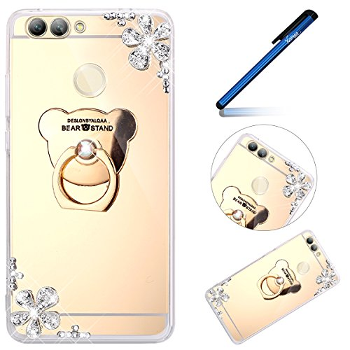 Hülle für Huawei Nova 2 [Ring Holder], Ysimee Spiegel TPU Silikon Weich Hülle Glänzend Glitzer Bumper Case Schutz HandyHülle mit Ständer und Strass Diamant für Huawei Nova 2, Bär Gold